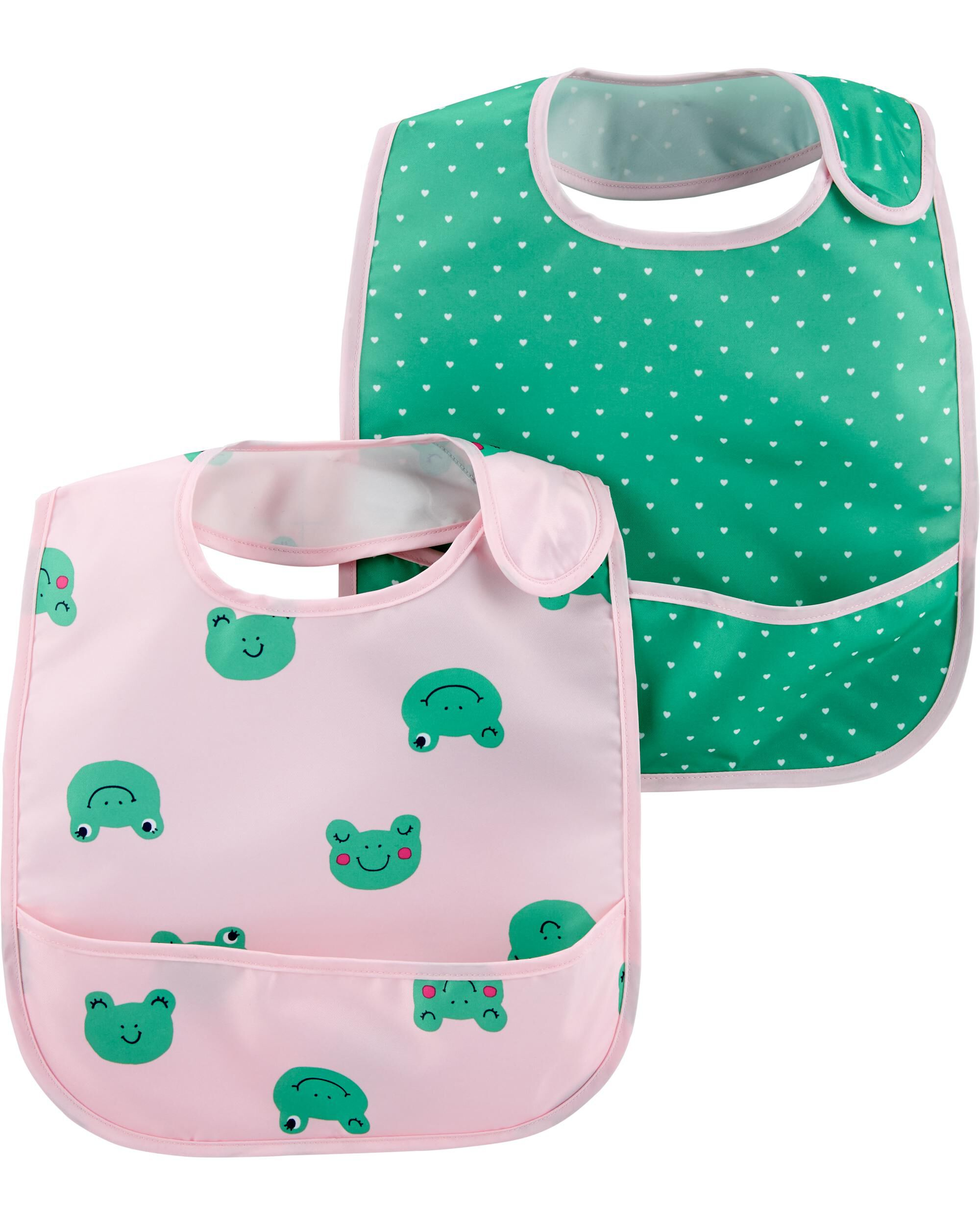 Oshkoshbgosh 2-Pack Hearts & Frogs Water Resistant Bibs