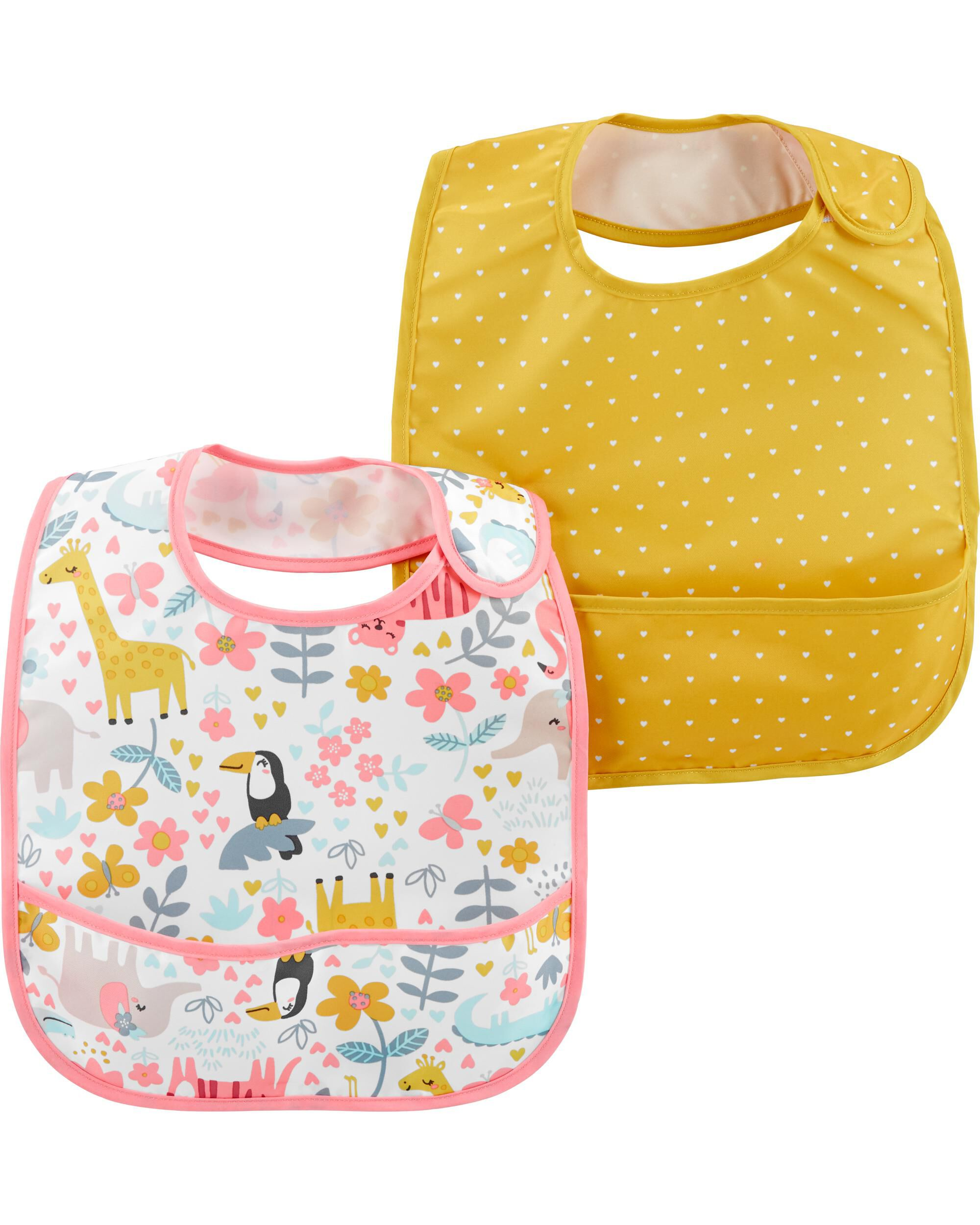 Oshkoshbgosh 2-Pack Hearts & Jungle Print Water Resistant Bibs