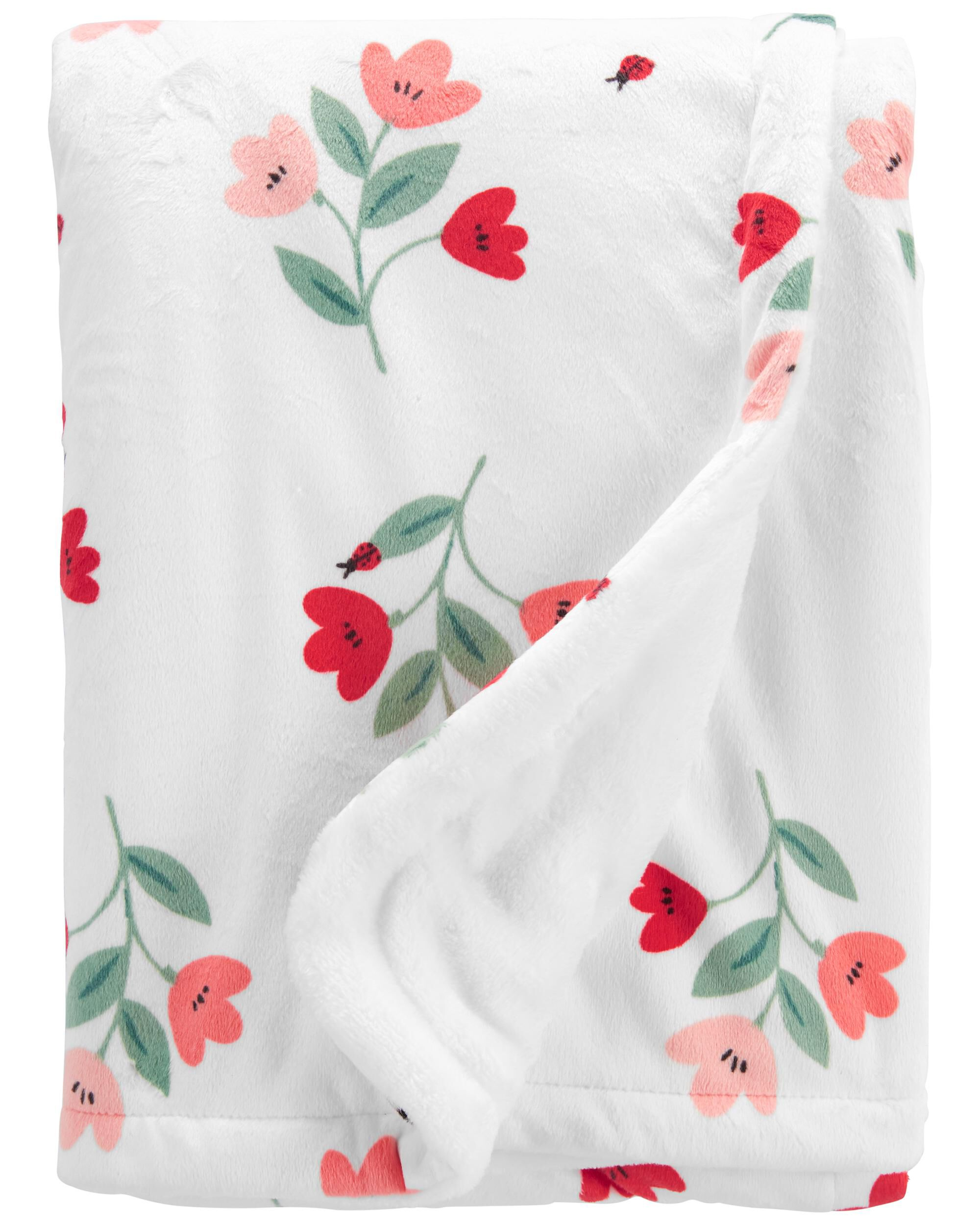 Oshkoshbgosh Floral Fuzzy Plush Blanket