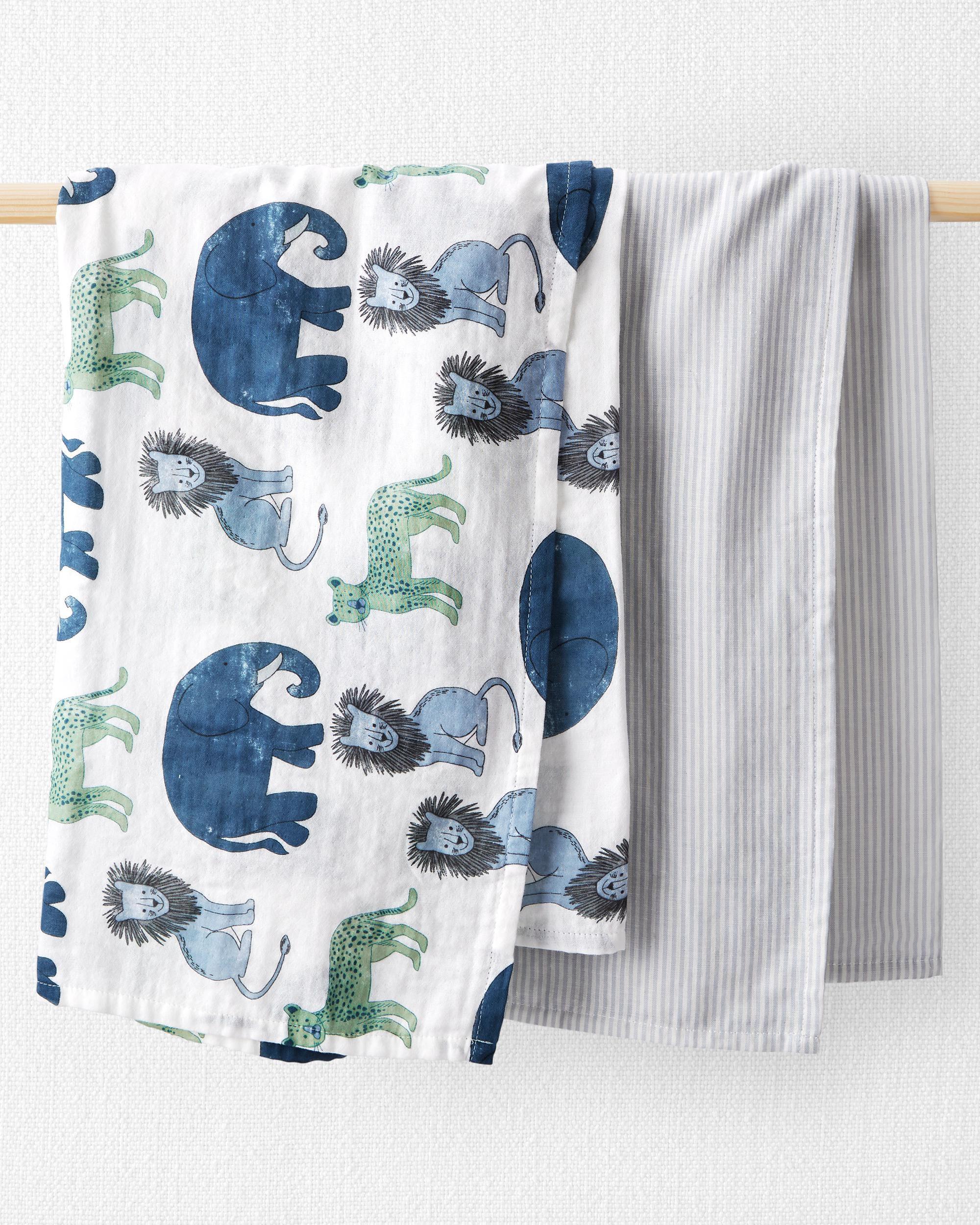 Oshkoshbgosh 2-Pack Cotton Muslin Swaddle Blankets