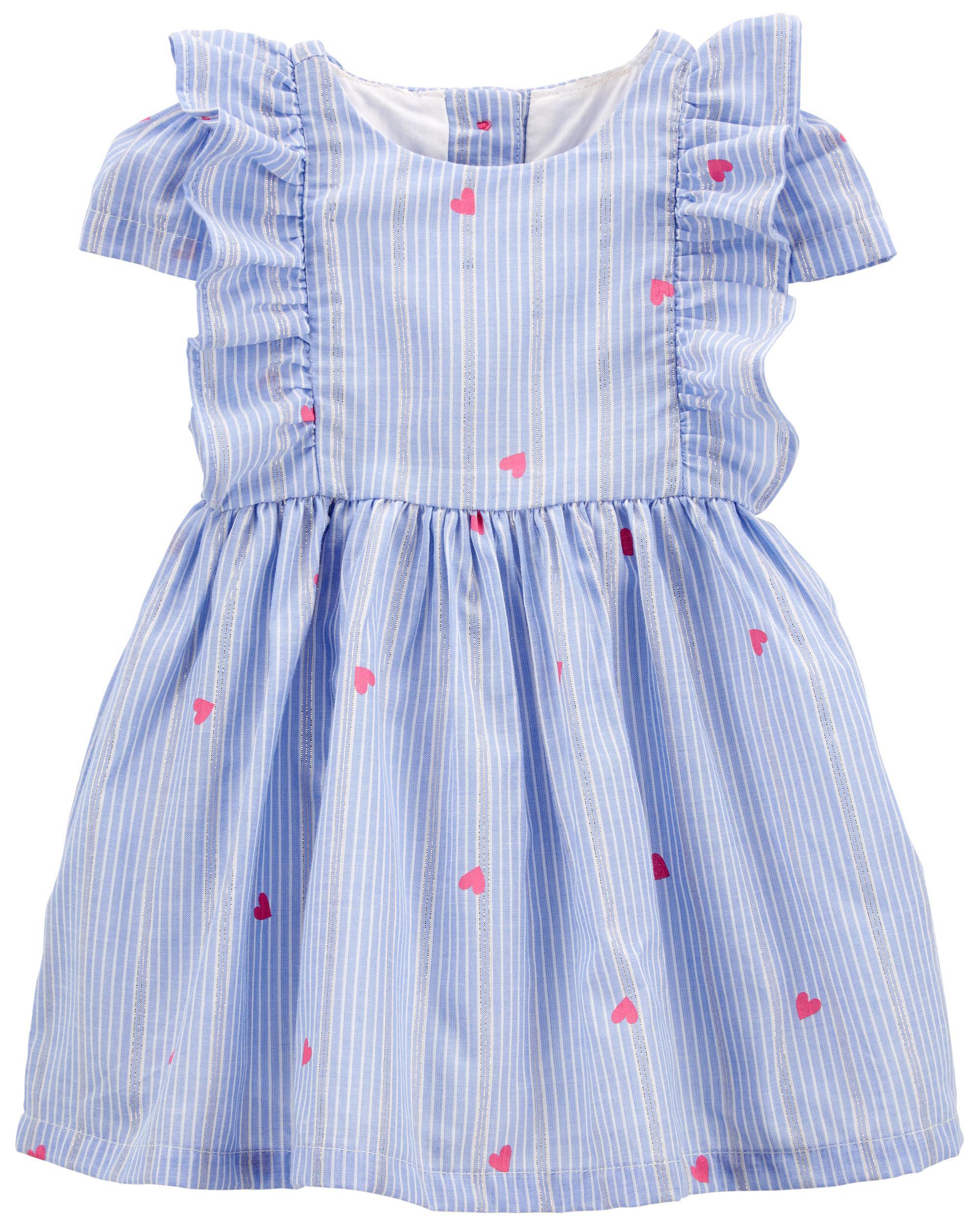 Oshkoshbgosh Sparkle Stripe Heart Print Dress
