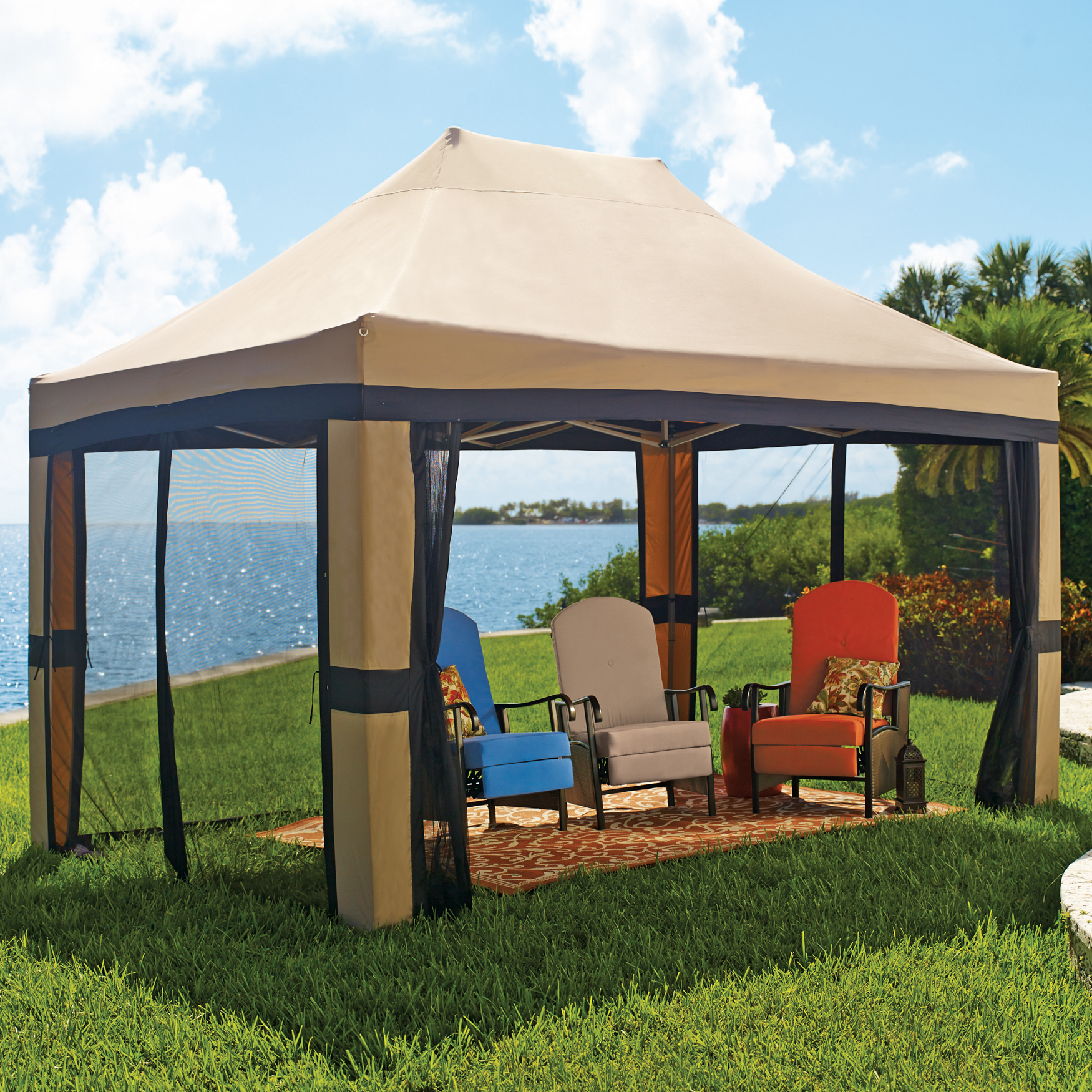 BrylaneHome Oversized 10x15-Foot Instant Pop-Up Gazebo with Screen
