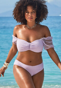 GabiFresh Cup Sized Off The Shoulder Bikini Set available from SwimsuitsForAll, Click here to visit their site.