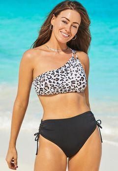 Virtuoso One Shoulder Bikini Set with Ruched Side Tie Brief
