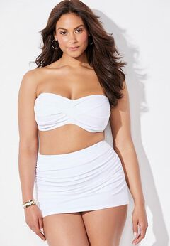 Valentine Ruched Bandeau Bikini Set with Skirt
