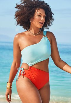 GabiFresh Cup Sized One Shoulder One Piece Swimsuit available from SwimsuitsForAll, Click for more Details