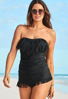 Fringe Bandeau Tankini Set with Sarong Skirt available from SwimsuitsForAll, Click for more Details