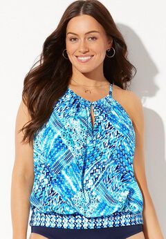 High Neck Blouson Tankini Top available from SwimsuitsForAll, Click for more Details
