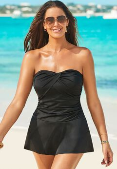 Ruched Skirted Swimdress available from SwimsuitsForAll, Click for more Details