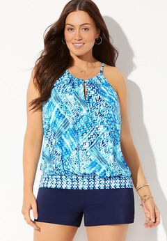 High Neck Blouson Tankini Set with Banded Short