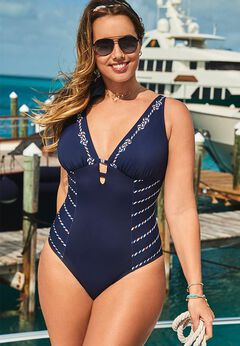 Deep V-Neck One Piece Swimsuit