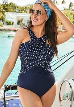 High Neck Wrap One Piece Swimsuit