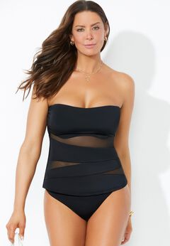 Mesh Wrap Bandeau Tankini Set with Cheeky Brief