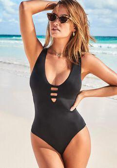 Strappy Scoopneck One Piece Swimsuit