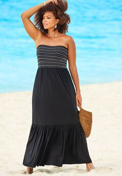 Karlie Smocked Bandeau Maxi Dress Cover Up available from SwimsuitsForAll, Click for more Details