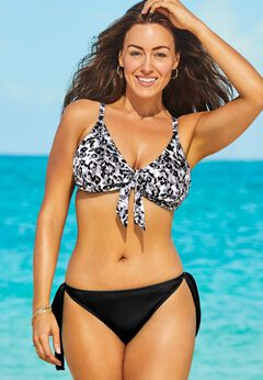 Mentor Tie Front Bikini Set with Side Tie Brief available from SwimsuitsForAll, Click here to visit their site.