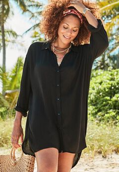 Shea High-Low Button Front Cover Up Shirt available from SwimsuitsForAll, Click for more Details