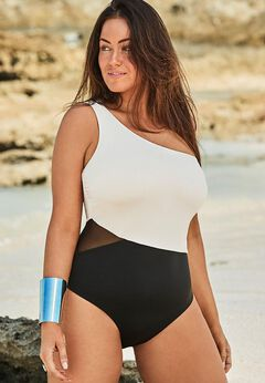 One Shoulder One Piece Swimsuit available from SwimsuitsForAll, Click here to visit their site.