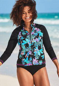 Chlorine Resistant Zip Front Long Sleeve Swim Shirt