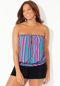 Bandeau Blouson Tankini Set with Banded Short available from SwimsuitsForAll, Click for more Details