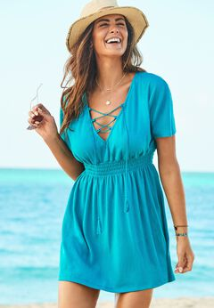 Coralee Smocked Waist Dress Cover Up