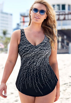 Dotted Sarong Front One Piece Swimsuit