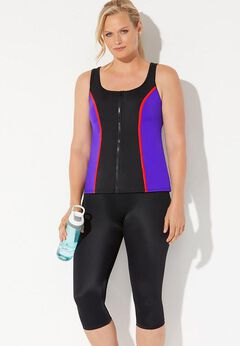 Chlorine Resistant Colorblock Zip Front Tankini Set with Capri