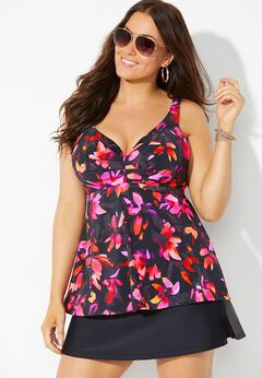 Bra Sized Sweetheart Underwire Tankini Set with Side Slit Skirt available from SwimsuitsForAll, Click for more Details