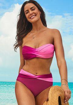 Valentine Ruched Bandeau Bikini Set with Twist Front Brief