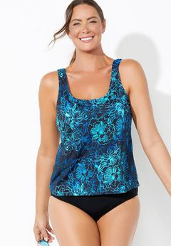 Chlorine Resistant Classic Tankini Set available from SwimsuitsForAll, Click for more Details