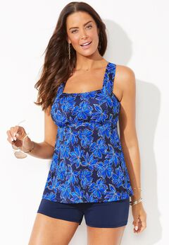 Tie-Back Tankini Set with Boy Short available from SwimsuitsForAll, Click for more Details