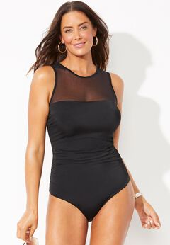 Mesh High Neck One Piece Swimsuit