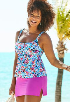 Flared Tankini Set with Side Slit Skirt