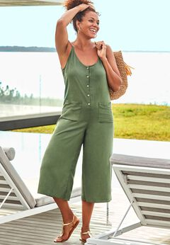 Brittany Button Front Jumpsuit Cover Up