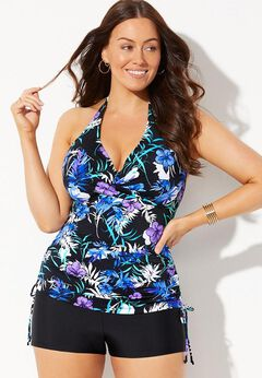 Adjustable Underwire Tankini Set with Boy Short available from SwimsuitsForAll, Click for more Details