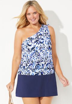 One Shoulder Blouson Tankini Set with Skirt
