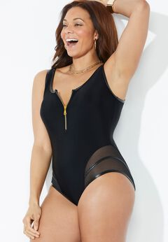 GabiFresh Cup Sized Zip Front One Piece Swimsuit available from SwimsuitsForAll, Click for more Details