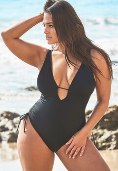 Ashley Graham A-List Plunge One Piece Swimsuit