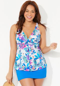V-Neck Twist Tankini Set with Side Slit Skirt