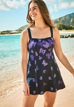 Princess-Seam Swim Dress available from SwimsuitsForAll, Click for more Details