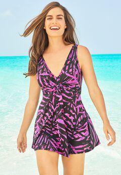Twist-Front Swim Dress