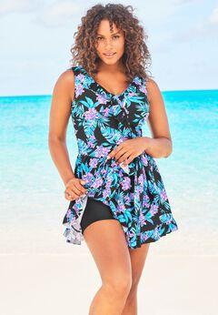 Faux-Wrap Swim Dress