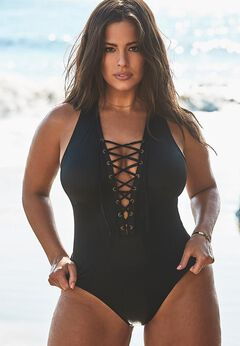 Ashley Graham CEO Lace Up One Piece Swimsuit available from SwimsuitsForAll, Click for more Details