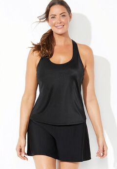 Chlorine Resistant Racerback Tankini Set with Skirt available from SwimsuitsForAll, Click for more Details