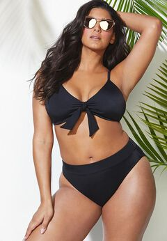 Mentor Tie Front High Waist Bikini Set available from SwimsuitsForAll, Click here to visit their site.