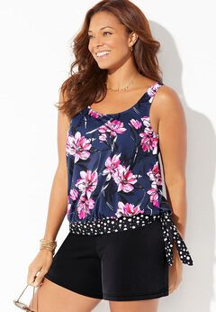 Side Tie Blouson Tankini Set with Short