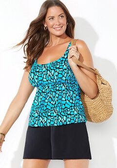 Flared Tankini Set with Short available from SwimsuitsForAll, Click for more Details