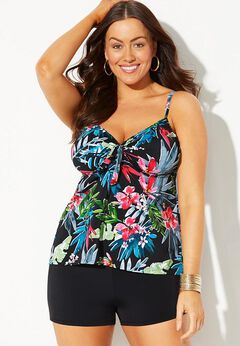 Tie Front Underwire Tankini Set with Boy Short