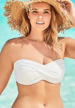 Valentine Ruched Bandeau Bikini Top available from SwimsuitsForAll, Click here to visit their site.