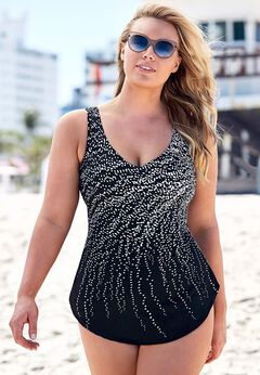 Dotted Sarong Front One Piece Swimsuit available from SwimsuitsForAll, Click for more Details